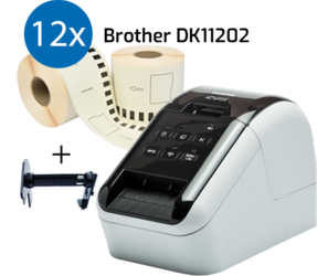 Stampante Brother QL810W + 12 rotoli Brother DK-11202 con etichette compatibili